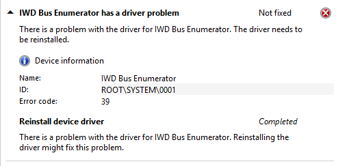 The driver won't load due to an Error 39